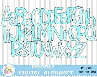 "Teal Doodle Letters Alphabet png, Hand Drawn Alpha Pack Digital Download, Printable School Spirit Kids Cute individual letters Bundle 12"""