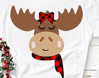 Girl Moose face svg, Moose svg, Plaid Bow Outdoor SVG, EPS Png DXF digital download Silhouette Cricut Clip Art graphics Vinyl Cutting