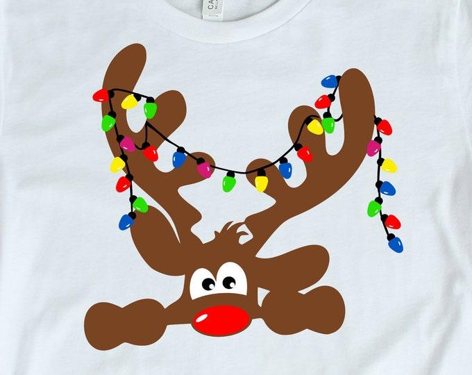 Christmas svg Peeking Reindeer SVG, EPS Png DXF, Peeping Reindeer digital download files Silhouette Cricut, vector Clip Art graphics