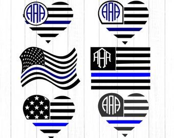 Blue Line SVG, Police All Lives Matter,  first responder Officer USA flag monogram frames, Blue Lives , United States SVG, eps png dxf