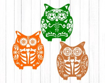 Owl Svg, Sugar Skull SVG File Day of the Dead SVG File Halloween Fall Cut File Set in Svg, eps, dxf and PNG Format for Cricut and Silhouette