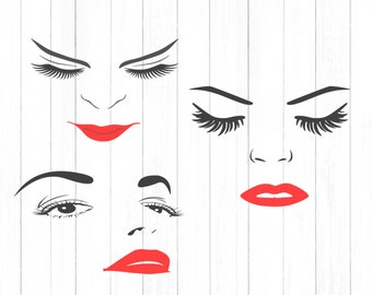 Women Face Svg, Eyelashes SVG, lips Women Face Clipart, Face SVG, Eyes Cutting File Svg, eps, dxf, PNG Format for Cricut and Silhouette