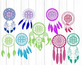 Dream Catcher Svg Dreamcatcher Svg Monogram frame, Feathers svg Tribal Boho Birthday cut files for cricut Eps Png Dxf, Cricut, Silhouette