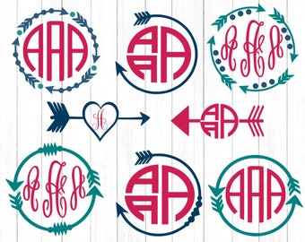 Arrow Svg, Monogram Frame Svg Boho Popular Arrow cutting file, SVG EPS Png DXF, Cricut Design Space, Silhouette Studio,Digital Cut Files