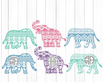 Aztec Elephant svg monogram svg, Pattern chevron elephant Africa Kids Mom elephant files, clip art, cricut, silhouette,Dxf, Eps, svg, png