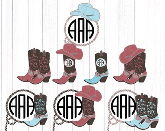Cowgirl Svg, Western Monogram SVG, Cowgirl Hat Monogram, Cowgirl Boots, Country SVG, Country Frame Cowboy SVG,dxf png, Cricut, Silhouette