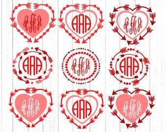 Valentine SVG,  Heart Arrow monogram svg Bundle SVG Eps Png Dxf, Cricut Silhouette Digital Cut Files Instant Download