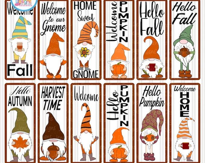Fall Porch Sign SVG Bundle Gnome Pumpkin SVG Autumn Vertical Sign Thanksgiving Cut File svg, eps, dxf, png quotes cricut silhouette