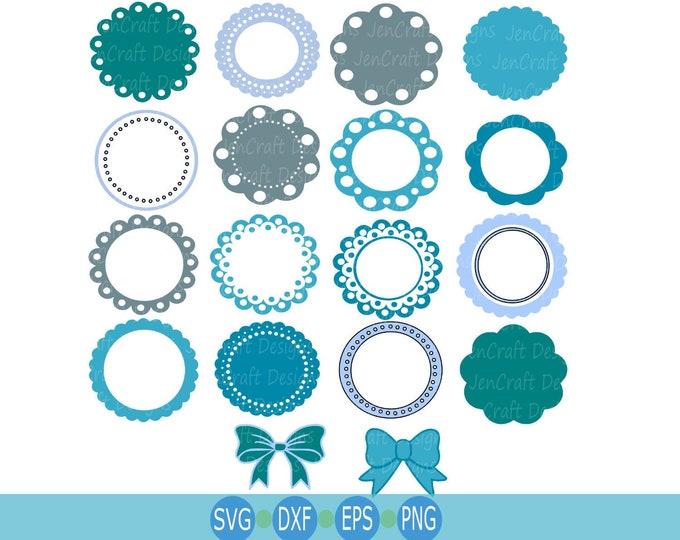 Monogram Frame Svg, Circle Frames Svg, Initial Frames Svg, Round Border Svg, Dotted frame Svg, Eps, Dxf, Png Cricut Silhouette Cut Files