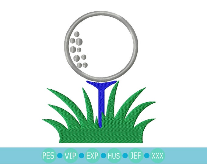 Golf Ball on Tee in Grass Embroidery Design, Instant Download digital file in PES, EXP, VIP, Hus, Xxx and Jef