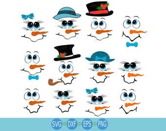 Snowman svg, Cute Snowman face SVG lady & man face boy Girl, Christmas Snow Man Digital cut file Dxf, Eps, Png Instant Download