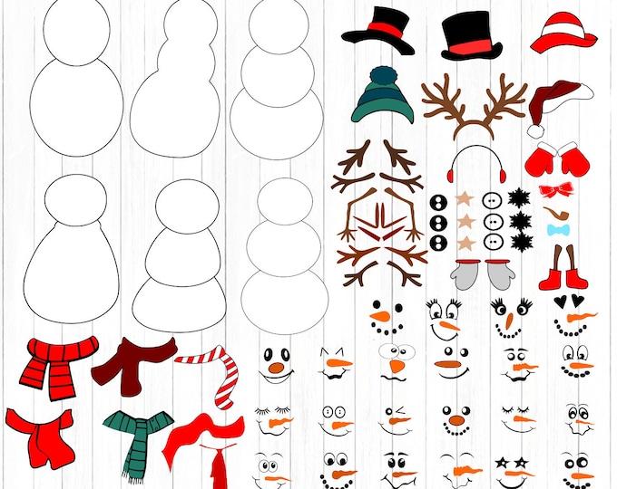 Snowman svg, Cute Build Snowman kit Bundle SVG lady & man face boy Girl Christmas Snow Man Digital cut file Dxf Eps Psd Png Instant Download