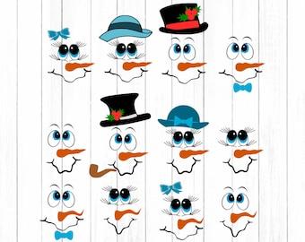 Snowman svg, Snowman face SVG Snowmen SVG lady & man face boy Girl, Christmas Snow Man Digital cut file Dxf, Eps, Png Instant Download