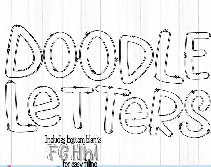 Doodle Letters SVG Transparent Hand Drawn Alphabet Letters Svg, Eps, DXF, PNG Customizable Alpha Pack Cut file Sublimation Design Printable