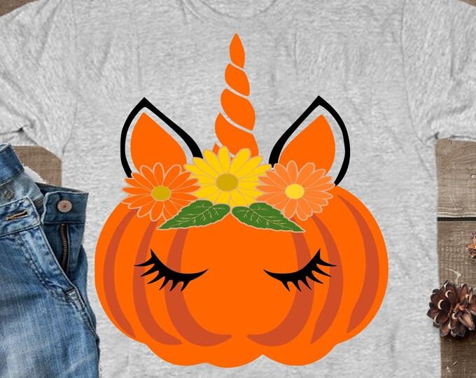 Fall Pumpkin Unicorn svg, Unicorn svg, Halloween svg, pumpkin svg, pumpkin face svg, Autumn DXF, Halloween unicorn, unicorn iron on design