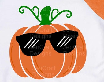 Pumpkin With sunglasses svg, boy Thanksgiving Design,Fall Cut File, Kids Halloween Saying, Shirt Quote, dxf eps png Silhouette Cricut