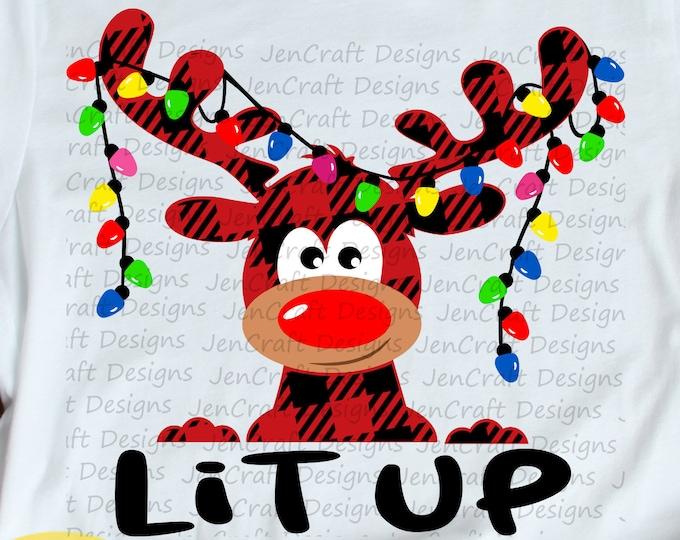 Christmas SVG,  Lit Up Buffalo Plaid Moose SVG, Plaid xmas lights Clipart, Reindeer Clip Art, Svg, Eps  Cut File, Png Print file Sublimation