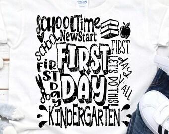 School svg Kindergarten svg Typography Back to School SVG First day svg school Grade First Day of School svg Sublimation Png Student Eps Dxf