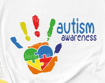 Autism Awareness Hand Print SVG, DXF, EPS & Printable Png Instant Download cutting files for Silhouette Studio and Cricut Design Space.