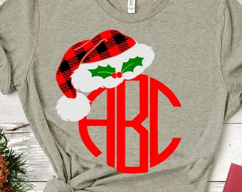 Plaid Christmas Hat Monogram Frame SVG, Christmas shirt design Svg, EPS Png Dxf,digital download files for Silhouette Cricut