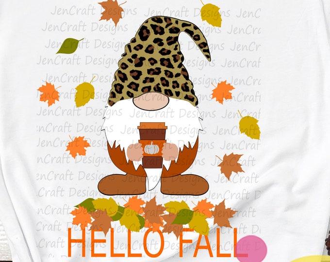Fall Gnome svg Pumpkin Spice Halloween Thanksgiving Cute Cheetah Leopard Print Svg, Eps, Dxf Cut File Sublimation Clip Art Download digital