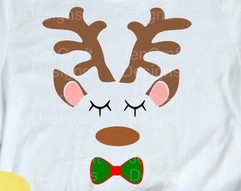 Christmas Reindeer Svg, Reindeer face Head Svg, Boy Reindeer Svg, Christmas Girl Design, Reindeer Antlers Svg, Reindeer Face Iron On