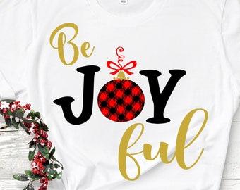 Be Joyful plaid Christmas SVG Buffalo Plaid Holiday Design, Ornament Joy Ful Pattern cut file Svg, Eps, Dxf, Png Cricut Silhouette