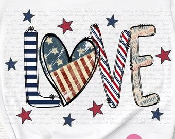 Patriotic LOVE Png, July 4th, Fourth of July, Independence Day Png, USA, Flag, Digital Sublimation Design download