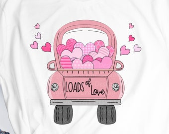 Valentine svg, valentines day svg, loads of love, hearts in vintage truck, Svg, EPS, Dxf, PNG cricut silhouette Cut File Sublimation Digital