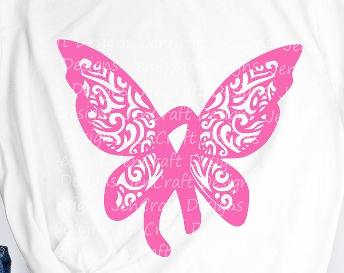 Cancer Ribbon Svg,  Awareness Butterfly Filigree, Survivor Fight Breast Cancer Ribbon SVG, DXF, EPS,Png cut file Print Sublimation digital