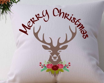 Merry Christmas Antler floral svg Cutting File Set Svg, eps, dxf and PNG Format for Cricut and Silhouette, Hunting Fishing, Print, clipart