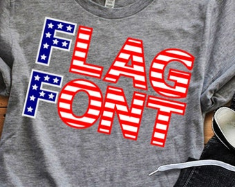 Flag Font SVG, US American Flag Pattern Striped Font Svg 4th of July SVG Eps Dxf Studio, Silhouette Cricut Ds Alphabet Cut Files