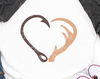 Interlocking Hook and Antler svg Heart Cutting File Set in Svg, eps, dxf and   PNG Format for Cricut and Silhouette, Hunting Fishing