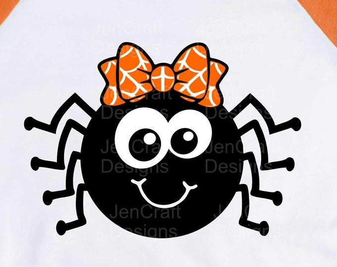 Halloween SVG, Cute Girl Spider with Bow SVG, Girl Haloween Design Trick or treat svg, eps, dxf, png cut files for Cricut, Silhouette