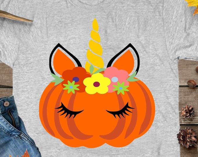 Pumpkin Unicorn SVG, Pumpkin Flowers Eyelashes, Pumpkin Head SVG, Silhouette Cut File, Cricut Cut Files, Pumpkin Clipart, SVG Files