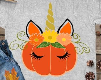 Pumpkin Unicorn svg, Unicorn svg, Halloween svg, pumpkin svg, pumpkin face svg, Fall Autumn DXF, Halloween unicorn, unicorn iron on design