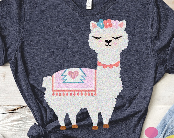 llama svg, alpaca svg, llama face svg, girls birthday svg, llama, shirt design, llama clip art girl llama Cut file design Svg, Eps, DXF, PNG