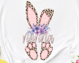 Nonna Cheetah bunny PNG. Easter Leopard Print ears and feet with flower  Rabbit sublimation digital design Easter clipart printable printing