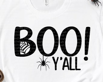 Halloween svg, Boo Yall Ghost Spider Trick or Treat Halloween Digital Design svg, eps, dxf, png cricut, silhouette cut files sublimation