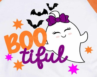 Halloween Svg, Boo Tiful Svg, Halloween Ghost Svg Cut file Trick or treat svg, eps, dxf, png cut files for Cricut, Silhouette