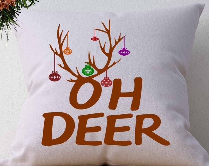 Christmas svg OH DEER Svg Antler ornaments digital design Files, SVG Eps Png Dxf, Cricut, Silhouette, Cut Files layered, Print Then Cut