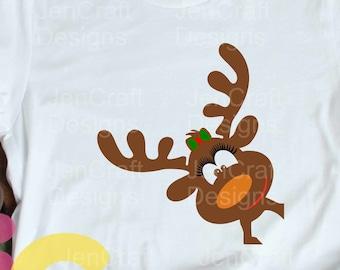 Christmas SVG Girl Reindeer Peeping Peeking Reindeer SVG, EPS Png Dxf, Silhouette Cricut, vector Clip Art graphics Vinyl Cutting Machines
