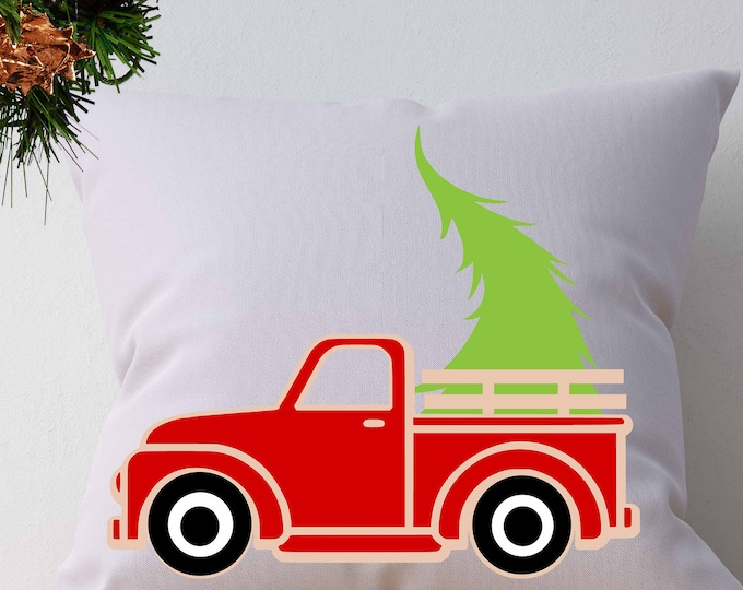 Christmas Truck SVG Antique Truck with Tree SVG Vintage SVG classic truck svg dxf, eps, png Cut File Silhouette, Cricut Digital Cut Files