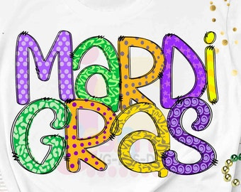"Mardi Gras Sublimation PNG Digital Design, Hand Drawn Printable Download ClipArt, Mardi Gras celebration, Fat Tuesday 300 dpi 12"" high"