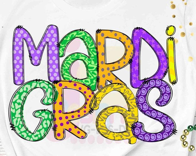 "Mardi Gras Sublimation PNG Digital Design, Hand Drawn Printable Download ClipArt, Mardi Gras celebration, Fat Tuesday 300 dpi 12"" high"
