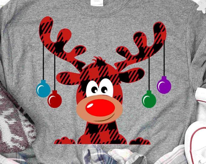 Buffalo Plaid Moose SVG, Christmas SVG, Plaid Pattern xmas Clipart, Reindeer Clip Art, Svg, Eps  Cut File, Png Print file Sublimation Design