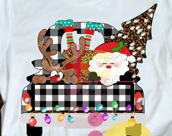 Christmas Sublimation Design PNG Digital Download, Plaid Christmas Truck, Back of Truck, peeking Santa, Elf legs, peeping Reindeer printable
