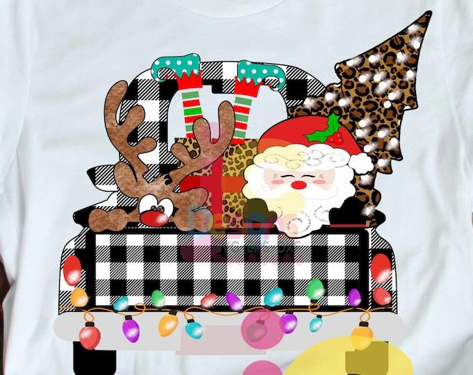 Christmas Sublimation Design PNG Digital Download, Plaid Christmas Truck, Back of Truck, peeking Santa, Elf legs, peeping Reindeer printable