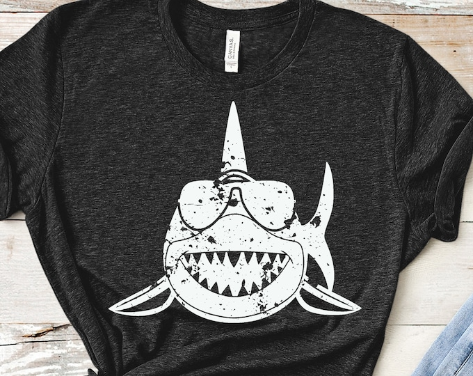 Distressed Shark svg,  shark sunglasses svg, Grunge shark svg, boy shark, summer svg, beach svg, Cricut, Silhouette, svg, eps, png, dxf