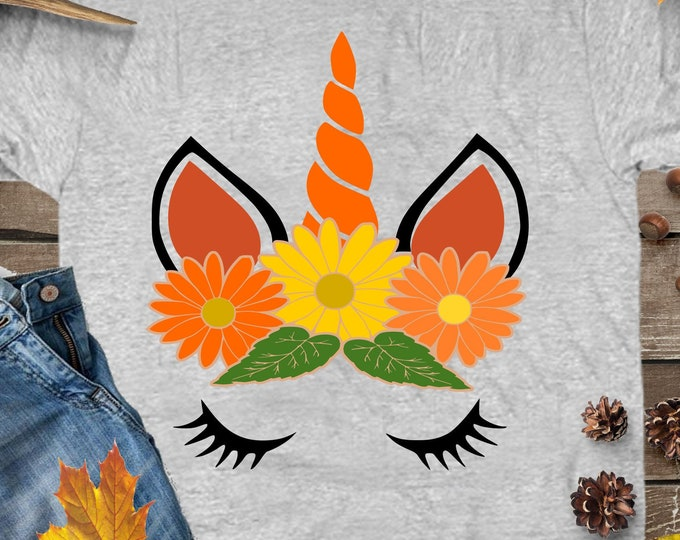 Fall Unicorn SVG Flower Crown Floral Eyelashes Face Fall Autumn Sunflower Halloween Svg files for Cricut Silhouette svg files DXF, Eps, Png